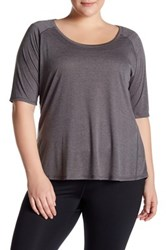 The Balance Collection Elbow Length Sleeve Retreat Tee Plus Size Gray