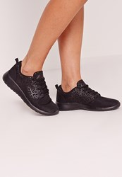 Missguided Animal Print Trainers Black Black