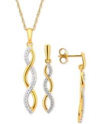 Macy's Diamond Infinity Pendant Necklace And Earring Set 1 4 Ct. T.W. In 14K Gold Plated Sterling Silver Yellow Gold