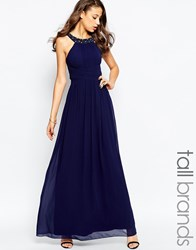 Little Mistress Tall Halter Maxi Dress With Embellished Neckline Navy