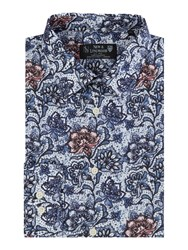 New And Lingwood Bosworth Print Shirt Blue