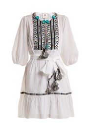 Figue Svana Geometric Embroidered Cotton Dress White Multi