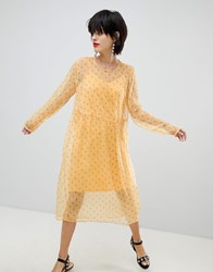 Pieces Ditsy Floral Dress Buff Yellow
