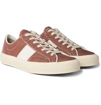 Tom Ford Cambridge Leather Trimmed Velvet Sneakers Pink