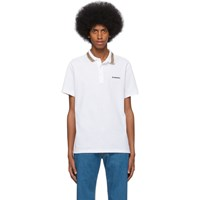 Burberry White Icon Stripe Collar Polo