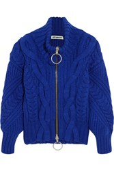 Off White Cable Knit Wool Blend Cardigan Royal Blue