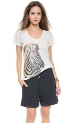 Wildfox Couture Zebra Easy V Neck Tee Vintage Lace