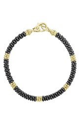 Lagos Gold And Black Caviar Beaded Station Bracelet Gold Black