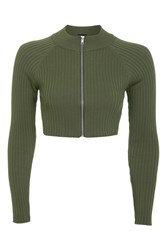 Topshop Modern Ribbed Crop Knitted Top Khaki