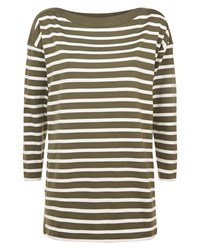Jaeger Cotton Boat Neck Stripe Tunic Green