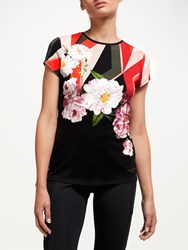 Ted Baker Fit To A T Sahara Bloom Print Fitted T Shirt Multi Red