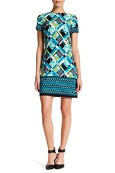 London Times Geo Puzzle Boarder Short Sleeve Shift Dress Petite Blue