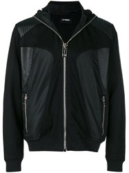 Les Hommes Hooded Technical Style Jacket Black