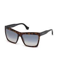 Balenciaga Square Gradient Flash Sunglasses Dark Brown Brown Dark