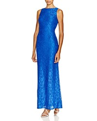 Aqua Lace Boat Neck Gown Royal