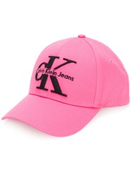Calvin Klein Jeans Logo Baseball Cap Pink And Purple