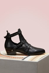 Jimmy Choo Harley 30 Textured Leather Cut Out Booties Black