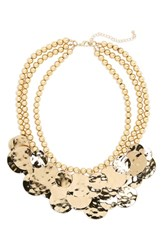 Cara Multistrand Statement Bib Necklace Gold