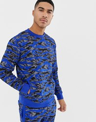 Soul Star Co Ord Printed Crew Neck Blue