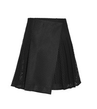 Burberry Pleated Macrame Lace Skirt Black
