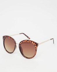 Asos Oversized Round Preppy Sunglasses With Metal Sandwich Tort Brown