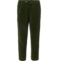 Barbour White Label Tapered Cotton Twill Drawstring Trousers Green