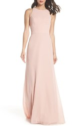 Hayley Paige Occasions Crewneck Chiffon Gown Rose