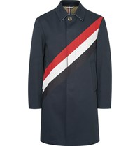 Thom Browne Striped Cotton Gabardine Raincoat Navy