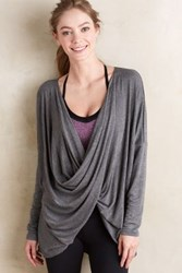 Anthropologie Draped Ardha Top Grey Motif