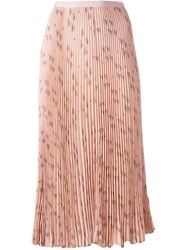 Valentino Triangle Print Pleated Skirt Pink Purple