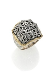 Konstantino Classics 18K Yellow Gold And Sterling Silver Floral Filigree Ring Silver Gold