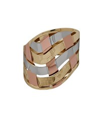 Lord And Taylor Gold Rush 14K Gold Rose Gold Plated Woven Band Ring Tri Tone