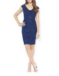 Lauren Ralph Lauren Sequined Lace Cowlneck Dress Lighthouse Navy