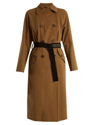 Brunello Cucinelli Double Breasted Cotton Gabardine Trench Coat Brown