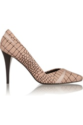 Mcq By Alexander Mcqueen Croc Effect Leather Pumps Nude