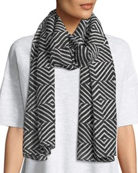 Eileen Fisher Optical Squares Silk Cotton Scarf Black