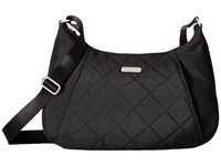Baggallini Quilted Slim Crossbody Hobo With Rfid Black Quilt Cross Body Handbags