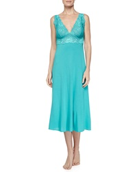 Natori Zen Floral Long Lace Tank Jersey Gown Blue Jewel