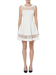 French Connection Tobey Crepe Knit Flared Dress Summer White