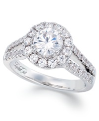 Macy's Split Band Lucia Cut Certified Diamond Engagement Ring In 14K White Gold 1 1 2 Ct. T.W.