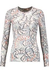 Tory Burch Printed Cotton Jersey Top Ivory