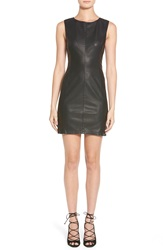 Cupcakes And Cashmere 'Grace' Faux Leather Shift Dress Black