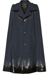Marc Jacobs Sequin Embellished Plaid Wool Blend Cape