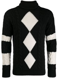Saint Laurent Turtle Neck Argyle Sweater Black
