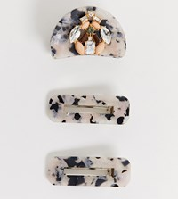 Accessorize Accesorize Exclusive Tortoise Resin Multipack Hair Clips With 2 Matching Clips And Embellished Dog Clip
