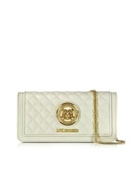 Love Moschino Quilted Eco Leather Wallet Clutch W Chain Ivory
