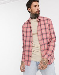 Good For Nothing Oversized Check Shirt In Pink With Distressed Hem