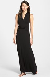 Petite Women's Vince Camuto V Neck Maxi Dress Rich Black