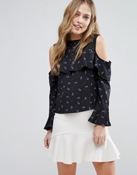 Influence Cold Shoulder Ruffle Top Navy