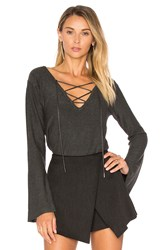 Central Park West Cambridge Lace Up Sweater Charcoal